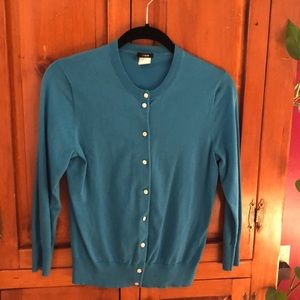 J crew turquoise blue cardigan medium